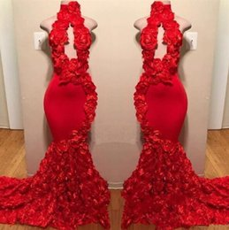 $enCountryForm.capitalKeyWord Canada - Red New Design Mermaid Prom Dresses Appliques High Neck Sexy Formal Evening Dresses Rose Floral Flowers Luxury Fashion Cocktail Party Gowns