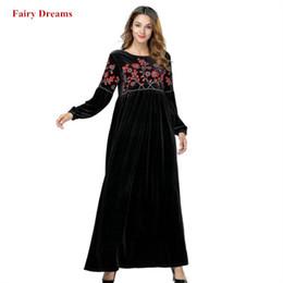 cabc2fb2b03 Velvet Muslim Dress Black Abayas Dubai Flowers Embroidery Women Maxi  Dresses Long Sleeve Turkish Robe Plus Size Islamic Clothing