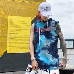 $enCountryForm.capitalKeyWord Australia - Tie Dyeing Letters Men's Tank Top with Hoodie Summer Sleeveless Hooded Tank Tops Men Streetwear Clothing