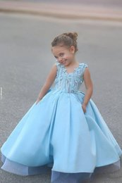 ice blue pageant dresses Australia - Cheap Ice Blue Princess A Line Girls Pageant Dresses V Neck 3D Floral Applique Pageant Dresses for Kids Girls Birthday Gowns Custom Made