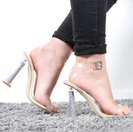 Lycra Strap Australia - 2019 New Summer Sandalias Mujer Clear Transparent Women Sandals Buckle Strap Crystal High Heels Square High-heeled Women Shoes