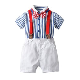 $enCountryForm.capitalKeyWord UK - Summer suit short-sleeved shirt set new male baby gentleman bow tie striped shirt strap four pants three-piece suit