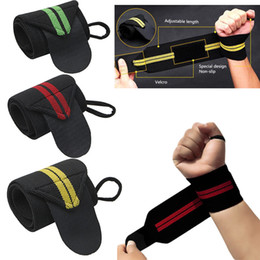 wrist strap gym Canada - Sports Wrist Weightlifting Strap Fitness Gym Wrapped Bandage pulseira Hand mens designer trainers Support Wristband Protection Wrist