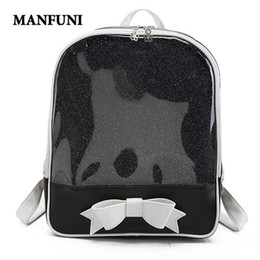 MANFUNI Cute Clear Transparent Bow Backpack Ita Bag Harajuku School Bags  For Teenage Girls Rucksack Kids Kawaii Backpack Itabag 8a98562568