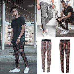 Toptan satış 2018 Yeni Marka Pamuk Sonbahar Yüksek Bel Erkekler Eşofman Altları Sıska Ter Ekose Pantolon Moda Spor # 387557