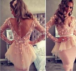 $enCountryForm.capitalKeyWord Australia - Elegant Champagne Lace 3D Floral Cocktail Party Dress Long Sleeves V Neck V Back Knee Length Prom Dresses Peplum Sheath Evening Gowns 2019