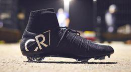 Cr7 Ronaldo Boots Australia - 100% Original Black CR7 Soccer Cleats Mercurial Superfly V FG Outdoor Soccer Shoes Mens Top Quality Cristiano Ronaldo Football Boots