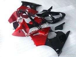 Red black kawasaki zx6R online shopping - Motorcycle fairing kit for Kawasaki Ninja ZX6R red black injection mold fairings set ZX R FX27