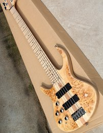 Left Handed Basses Australia - Flame beige left hand 5 bass electric guitar strings, with maple fingerboard, body, 2 pickups, 24 sounds, providing high quality personalize