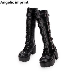 2c9d419f13647 Angelic imprint mori girl lady lolita punk motorcycle Boots woman high  heels pumps Women princess dress party shoes rivets 35-40