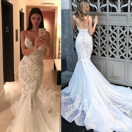 $enCountryForm.capitalKeyWord Australia - Stunning Sexy Backless Wedding Dresses Mermaid Style Spaghetti Strap Lace applique sweep train Bride Dress Sweetheart Neckline
