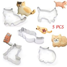 Cat Cutters Australia - New Cute 5Pcs Cartoon Cat Biscuit Metal Chocolate Cookie Jelly Mould Cutters Kitchen Stuff Bakeware Tools