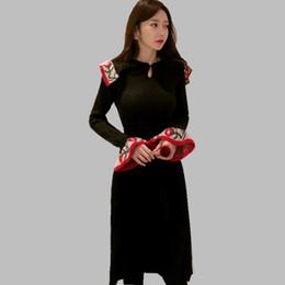 57a654fac97 2019 New arrival Korean Dress slim Flare sleeve knit jacquard fashion  sweater dress