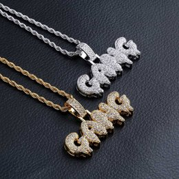 $enCountryForm.capitalKeyWord Australia - Letters Pendant Necklaces Jewelry Luxury Fashion Bling Zircon Micro Paved 18K Gold Plated GANG Exquisite Hip Hop Necklaces Wholesale LN140