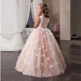 c6d422097 Fancy Flower Long Prom Vestidos Vestidos de adolescentes para niña Niños  Ropa de fiesta Vestido de noche para niños Ropa de boda de dama de honor