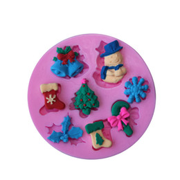 silicone snowflake cake mold NZ - Newest Christmas Snowflake Snowman Sock Silicone Mold Cake Mold Silicone Baking Tools Kitchen Decorations Fondant