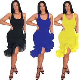Hot dance skirt online shopping - Women Latin Dancing Party Sexy Vest Skirt Mid calf Length Ruffles Dress Irregular Organza Fishtail Hem Sleeveless Strap Dresses Hot C425