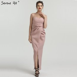 ab258e313ca Pink Long Sleeves Mermaid Pearls Evening Dresses Elegant Fashion Sexy  Formal Evening Gowns 2019 Serene Hill