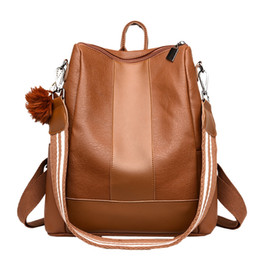 $enCountryForm.capitalKeyWord UK - Girl Hairball Leather Backpack Brown Women Travel Backpack Classic Large Capacity Backpacks Casual Rucksack Backpacks 10.5#30 #307725