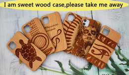 engraved phone Canada - Top Quality Cherry Engraving For Iphone 11 pro Wood Case iphone 11 X XR XS Max 8 plus Durable Luxury wooden Phone Cover Samsung S10 note10