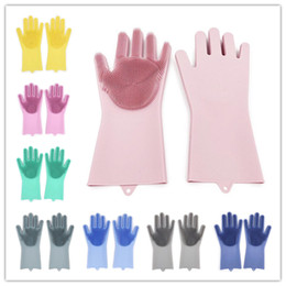 Wholesale 2pcs pair Magic Washing Brush Silicone Glove Resuable Household Scrubber Anti Scald Dishwashing Gloves For Kitchen Bathroom Cleaning Tools