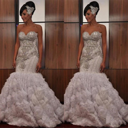 crystal rose images UK - 2019 Stunning Strapless Sleeveless White Crystal Beading Rose Flower Wedding Dress Mermaid Ruffles Vintage African Bridal Gowns
