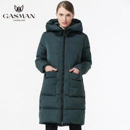 woman long parka plus size UK - GASMAN 2019 Fashion Woman Winter Clothes Parka Hooded Down Jacket Medium Length Casual Winter Thickening Coat Plus Size 5XL 6XL T190610