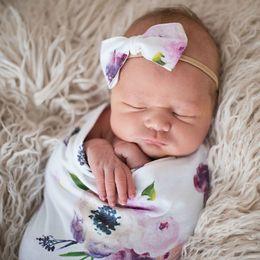 Ingrosso 6 colori coperta del bambino Sacco a pelo stampato floreale appena nato 2 pz set con fasce di prua swaddle wrap blanket Swaddling puntelli fotografici