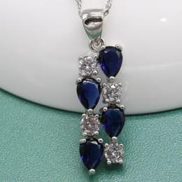 718a14cdd Clip Silver Drop Earrings Australia - Water Drop Dark Blue Zircon 925 Silver  Wedding Jewelry Sets