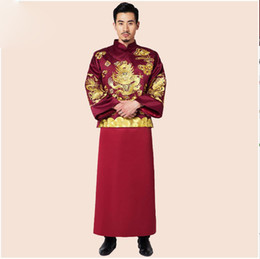 47a807f9a Traditional Costume show chinese style clothes Wine red groom married wedding  male show clothing formal evening Gown Robe