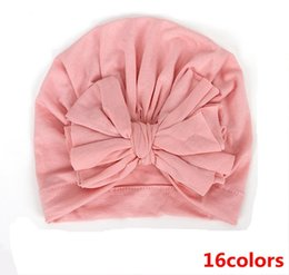 $enCountryForm.capitalKeyWord Australia - 2019 baby beanie hats wholesale fashion big bowknot hat caps kids turban twist accessories for girls hair bows infant cotton bonnets soft