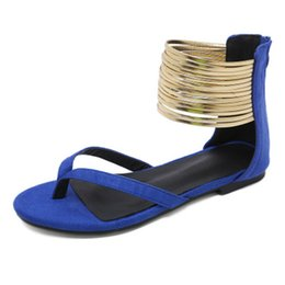 Discount women sexy flip flops - Gladiator Sandals Women Summer Shoes Female Casual Flip Flops Flat Sandals Ladies Sexy Foot Ring Plus Size 43 XWZ6016