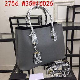 CroCheted tote bags online shopping - New arrival Women Leather totes real leather Lichee grain designer totes snake patter leather handles cm large bag