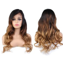 Wavy blonde hair online shopping - Brazilian Remy Wavy Lace Front Human Hair Wigs For Black Women Ombre Blonde Brown Deep Part Lace Front Wig