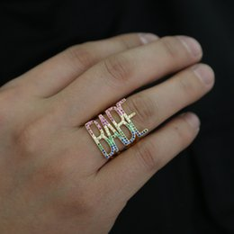 Finger Brass Ring Australia - 2019 Lastest Fashion Personality Rainbow Cubic Zircons Letter BABE Rings For Lover Anniversary Gifts Trendy Punk Finger Jewelry