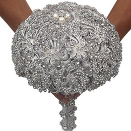 Bridal Brooch Flower UK - 2019 Luxurious Crystal Brooch Bouquet Ivory Gray Crystal Beading Bouquet Satin Wedding Flowers Bridal Bouquets Wedding Accessories