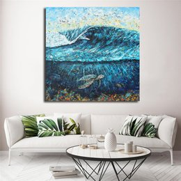 painting sea ocean Australia - Cartoon Ocean Sea Landscape Canvas Art Oil Printing Modern Poster HD Picture Decraotion Print Decorative Living Room Home Decor