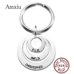 Trendy Silver Chains For Men Australia - Amxiu Personalized Circle Pendant Keychain Engrave 1-3 Names Key Chains 925 Silver Jewelry For Men Women Keys Bags Accessories
