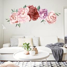 $enCountryForm.capitalKeyWord Australia - 55x100cm Peony Flowers Wall Stickers Art Home Decor PVC Removable Vinyl Wall Decals for Kids Living Room Decorations