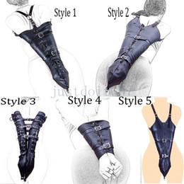 Leather Wrist Gloves Australia - Restraints Wrists Arm binder Hands PU Leather Tight Single Glove Straight Jacket #R46