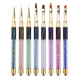 Acrylic Painting Drawing Brushes Australia - 1pc Nail Art Stripe Lines Liner Painting Cat Eye Brush Acrylic UV GEL Extension Builder Drawing Rhinestone Handle Pen New Design