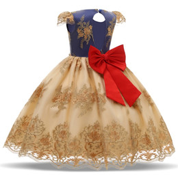 Wedding frocks yelloW online shopping - Lace Bow Girls Dress Baby Kids Christmas Party Ball Dresses Tutu Birthday Flower Wedding Gown Baby Girl Children Frocks Vestidos