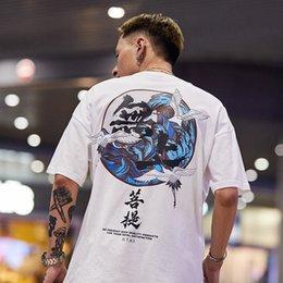 Chinese men s dress online shopping - New Bodhisattva Crane Chinese Wind Short Sleeve T shirt Male Hip hop Personality Short tee Guochao Street Half Sleeve Couple Dress