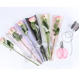 Korean Gift Wrapping Paper Australia - 50pcs lot Bouquet wrapping paper rose flower Florist Single flower bag handmade translucent wrapping paper Korean new style Gift wrapping