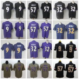 Football Men Baltimore 9 Justin Tucker Jersey Ravens 57 CJ Mosley 32 Eric  Weddle Vapor Untouchable Salute to Service Purple Black White 82206671e