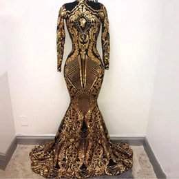 China Gold Arabic Long Sleeves Mermaid Prom Dresses 2019 Sequins Bling Moroccan Kaftan Evening Dress Formal Party Gowns For Women cheap modern moroccan prom dresses suppliers