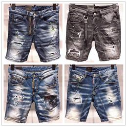 6fabdecb87 Moda Verano Nuevo Estilo D2 Denim Jean Hombres Motocicleta Streetwear  Agujeros Pantalones Cortos De Mezclilla Pantalones Agujeros Botón Hombres  Cortos ...