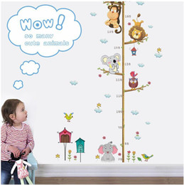 Wholesale height chart Cartoon Animals Lion Monkey Owl Elephant Height Measure Wall Sticker For Kids Rooms Growth Chart Nursery Room Decor Wall Art