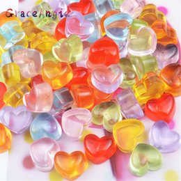 Mud Pack Australia - 20pcs pack Wholesale Heart Beads Soft Candy Cream mobile phone case accessories diy simulation love candy crystal mud slime