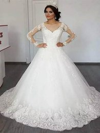 $enCountryForm.capitalKeyWord Australia - 2019 Elegant Country Long Sleeves Wedding Dresses Lace Appliqued A Line Tulle Long Bridal Gowns Cheap Custom Made